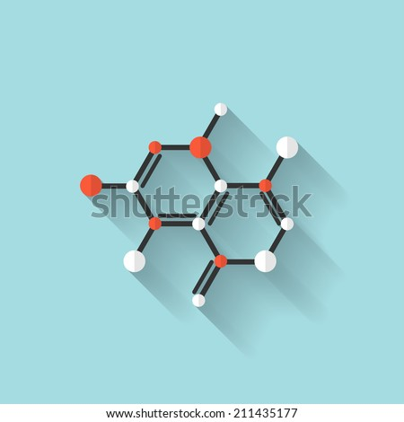 Flat dna icon. Chemical formula symbol. Health care. - stock vector