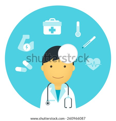 Flat doctor with medicine symbols around him - stock vector