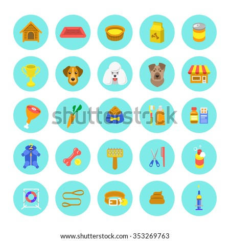Flat dog care round vector web icons in colorful circles, isolated on white. Simple conceptual bright colors symbols of nutrition, grooming and accessories of dogs. Pets infographics design elements - stock vector