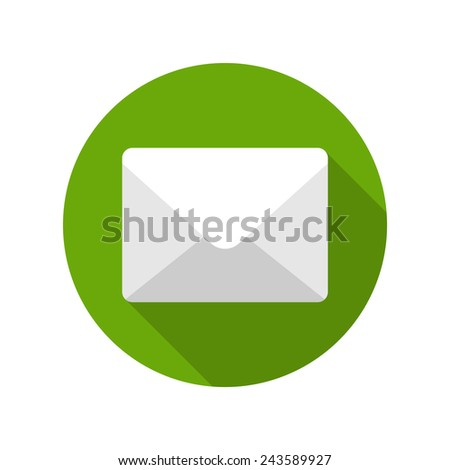 Flat E-mail Envelope Delivery News Message icon design and long shadow vector illustration for website and promotion banners.  - stock vector