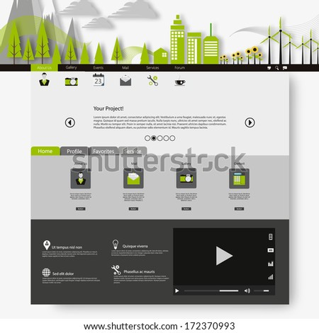 Flat eco city on Flat Website Template Design  - stock vector