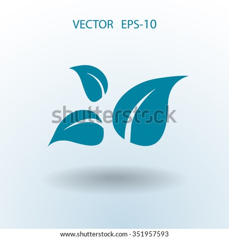 Flat eco leaf icon - stock vector