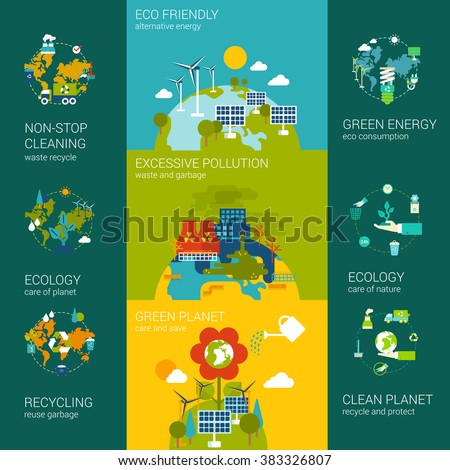 Flat ecology eco friendly pollution green energy planet infographics concept. Vector icon banners template set. Alternative energy excessive pollutive industry. Website illustration element collection - stock vector