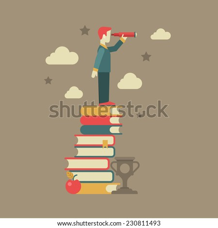 Flat education future vision concept. Man looking through spyglass stands on book heap, apple, clouds, stars, cup winner. Conceptual web illustration for power of knowledge, meaning of being educated. - stock vector
