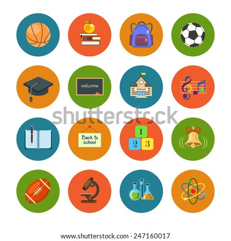 Flat education icons set. Colorful template for you design, vector illustration - stock vector