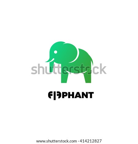 Flat elephant logo. Vector elephant logo. Elephant icon. Flat elephant icon. Flat vector elephant illustration. Green elephant logo. Ecology and nature logo. Green logo. Nature logo. Green icon - stock vector