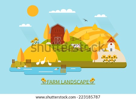 Flat farm landscape illustration with farmhouse, fields, pond, sunflowers and farm animals. Colorful vector flat icon set: ducks, cow, mill, geese, haystacks. Vector illustration in trendy flat style. - stock vector
