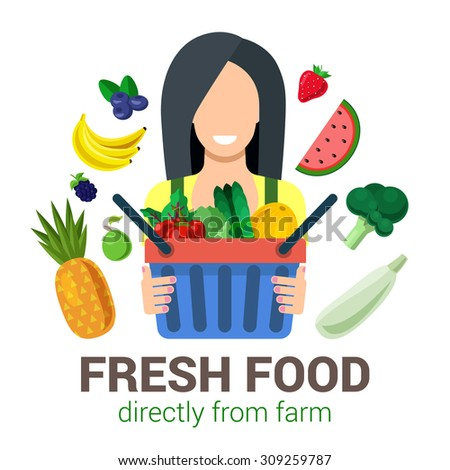 Flat female young girl shop seller salesman farmer harvest natural eco fresh food. Stylish quality icon set farm fruit. Agriculture logo company identity mockup template concept. Farming collection. - stock vector