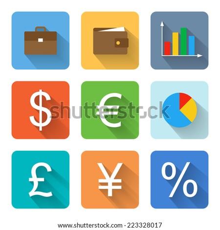 Flat finance icons. Vector illustration - stock vector