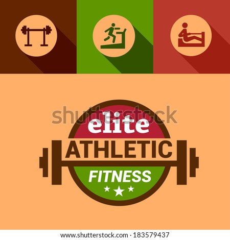 Flat Fitness and Sport Design Elements. - stock vector