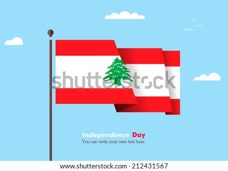 Flat flag against the blue sky. Flat flag fluttering in the wind on a background of clouds. The flat design of the flag on the flagpole. Independence Day. Flag of Lebanon - stock vector