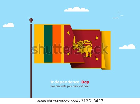 Flat flag against the blue sky. Flat flag fluttering in the wind on a background of clouds. The flat design of the flag on the flagpole. Independence Day. Flag of Sri Lanka - stock vector
