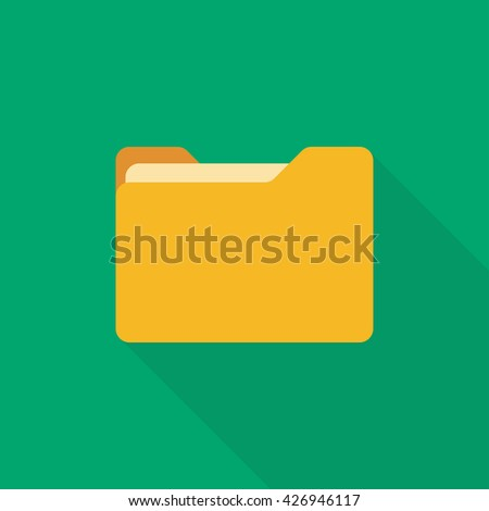 Flat folder. Folder with documents. Yellow folder isolated on green background - stock vector