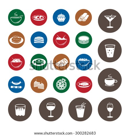 Flat Food Icons Set: Vector Illustration, Graphic Design. Collection Of Colorful Icons. For Web, Websites, Print, Presentation Templates, Mobile Applications And Promotional Materials - stock vector