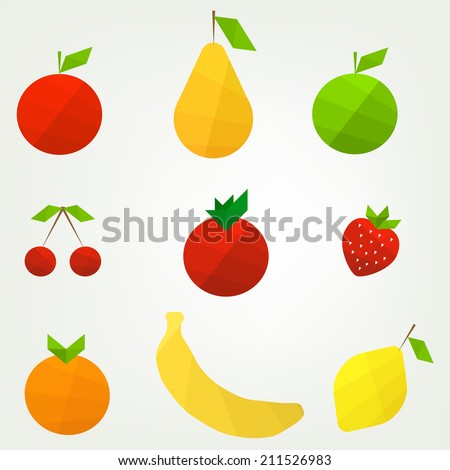flat fruit set - stock vector