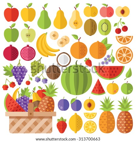 Flat fruits icons set. Colorful flat design concepts for web banners, web sites, printed materials, infographics. Creative vector flat icons and vector illustrations - stock vector