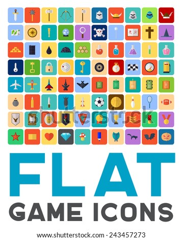 Flat game icons set. Vector design for app game user interface - stock vector