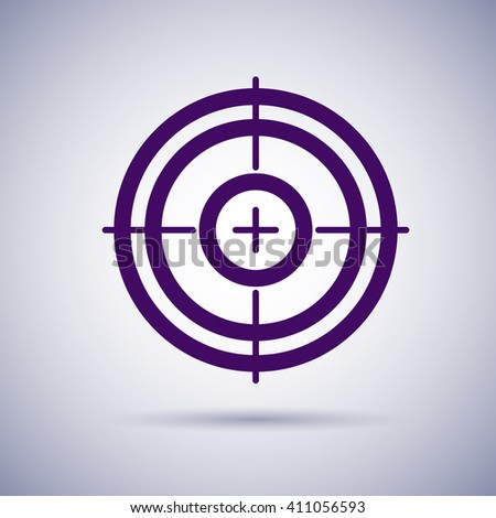 Flat game target isolated. Crosshair icon. Aim icon. Bullseye sign. Shooting mark set. Target icon.Computer game element, military concept. - stock vector