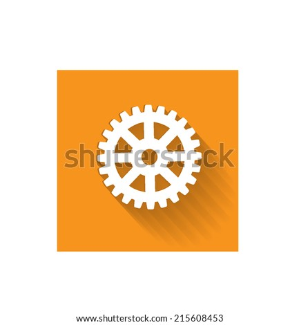 Flat gear icon - stock vector