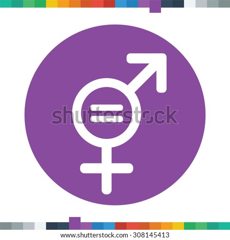 Flat gender equality icon with an equals sign in a circle. - stock vector