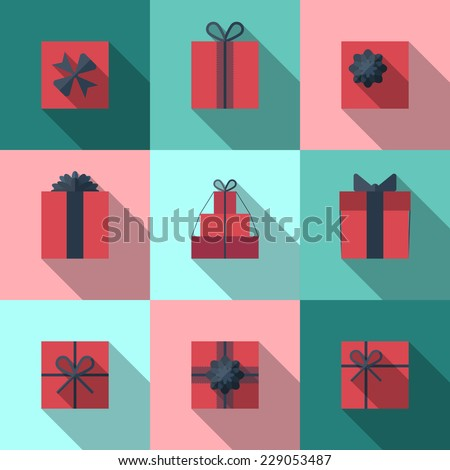Flat gift box icon set with different bows. Gift wrapping. Gift wrap. Gift package. Flat gift box icon with long shadow. - stock vector