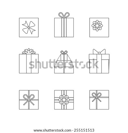 Flat gift box icon set with different bows. Gift wrapping. Gift wrap. Gift package. Flat gift box icon. Thin line silhouettes of gift boxes isolated on white background - stock vector