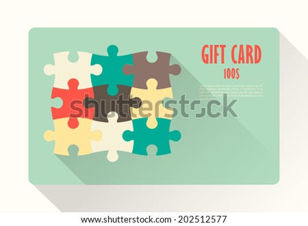 Flat Gift Card with puzzles - stock vector