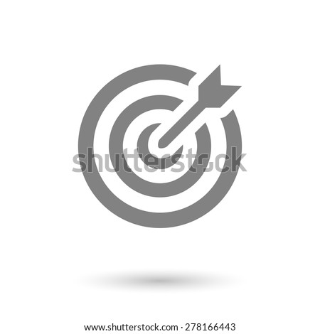 flat goal-dartboard icon. solid with shadow - stock vector