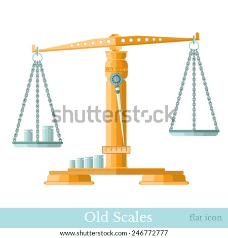 flat golden vintage scales with weights isolated on white - stock vector