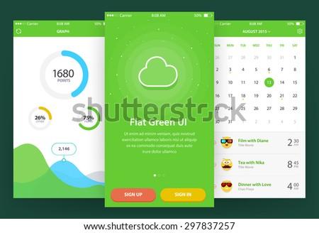 Flat Green Ui (3 screen) - Walkthrough, Graph, Calendar - stock vector