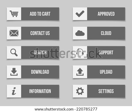 Flat grey buttons set - stock vector
