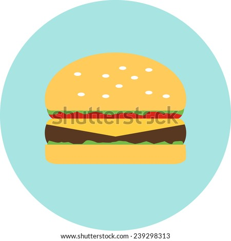 Flat hamburger symbol with long shadow - stock vector