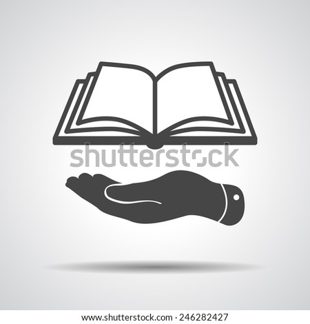 flat hand giving the book icon - vector illustration - stock vector