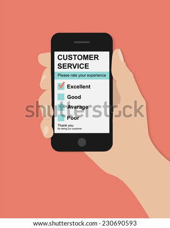 Flat hand holds smart phone with customer service satisfaction survey on red background   - stock vector