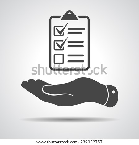 flat hand with check list icon - stock vector