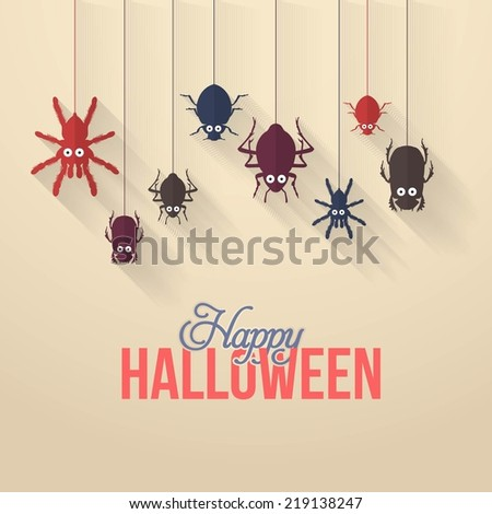 Flat Hanging Insect Flat Style Halloween Background  - stock vector