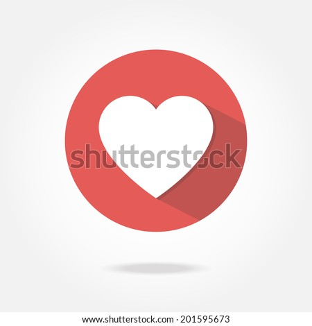 Flat heart icon. - stock vector