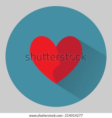 Flat heart icon - stock vector