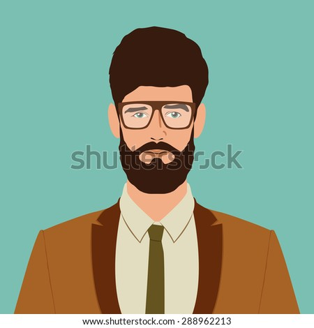 flat hipster character. stylish young guy with glasses. avatar icon. man vector illustration. eps10 - stock vector