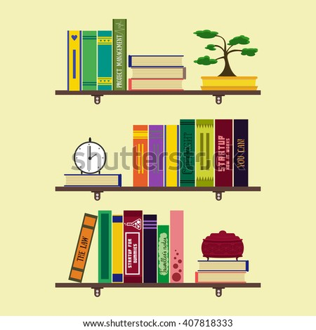 Flat home library or room bookshelves with books, bonsai, clock, jewelry box. Home comfortable book lover decor concept. Booklover card, poster, banner, flyer, brochure. Vector illustration set - stock vector