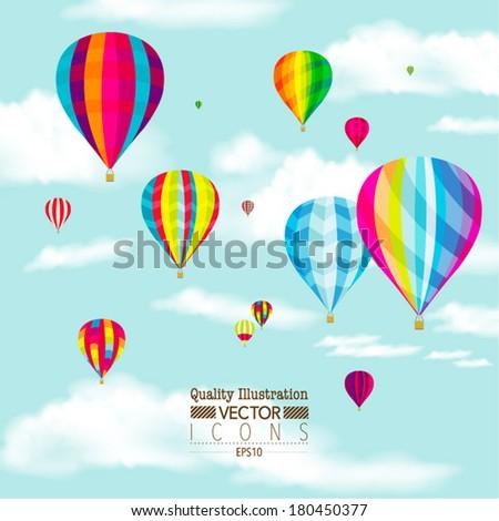 Flat Hot Air Balloon Vector Design - stock vector