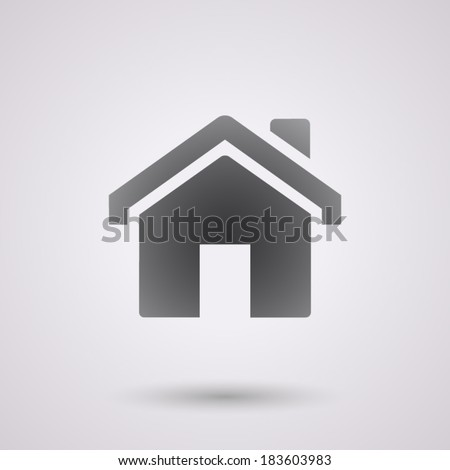 flat house icon, isolated, shaded, black color, for web & business - stock vector