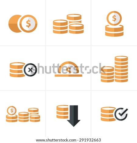 Flat icon   Coins Icons Set, Vector Design black color - stock vector