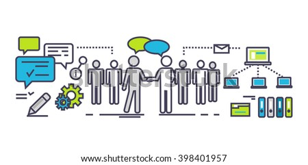 Flat icon concept of business partnership. Partner and teamwork, team people, cooperation and contract, deal handshake, professional corporate agreement illustration. Partner thin line ouyline icons - stock vector