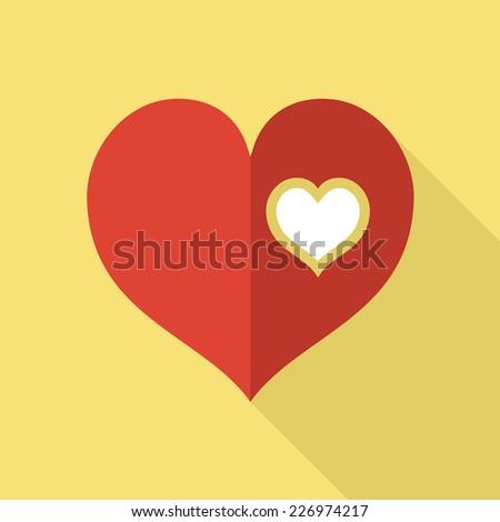 Flat icon design. Heart icon. Love and romance concept. - stock vector