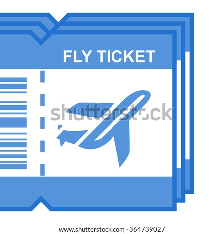 flat icon fly ticket  - stock vector
