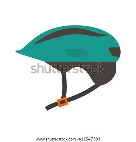 Flat Icon helmet isolated on white background. Vector illustration - stock vector