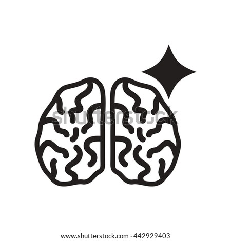 flat icon in black and white  style brain stroke - stock vector