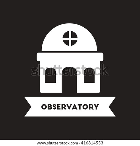 flat icon in black and white  style building observatory   - stock vector