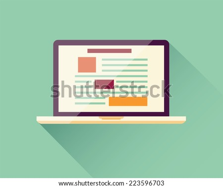 Flat icon laptop, electronic device, responsive web design, infographic elements, vector illustration - stock vector